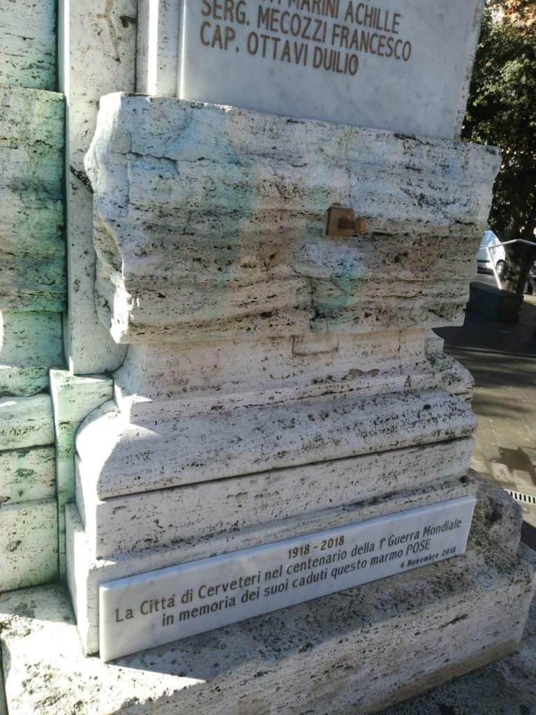 Cerveteri, atto vandalico al Monumento ai Caduti