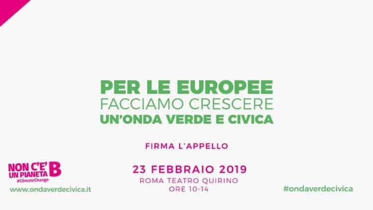 Europee: Italia in Comune, Verdi e Green Italia il 23 febbraio a Roma lanciano evento 'Onda Verde e Civica'