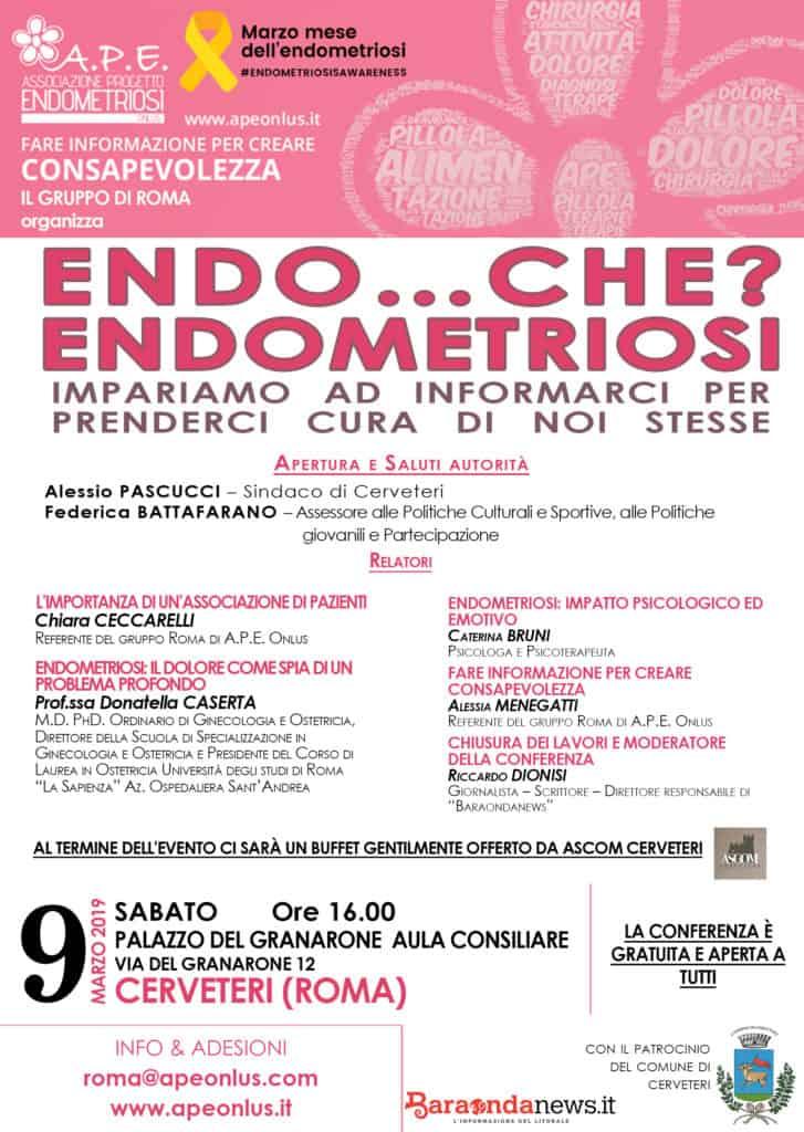 Endometriosi, a Cerveteri  una conferenza di informazione promossa da APE Onlus