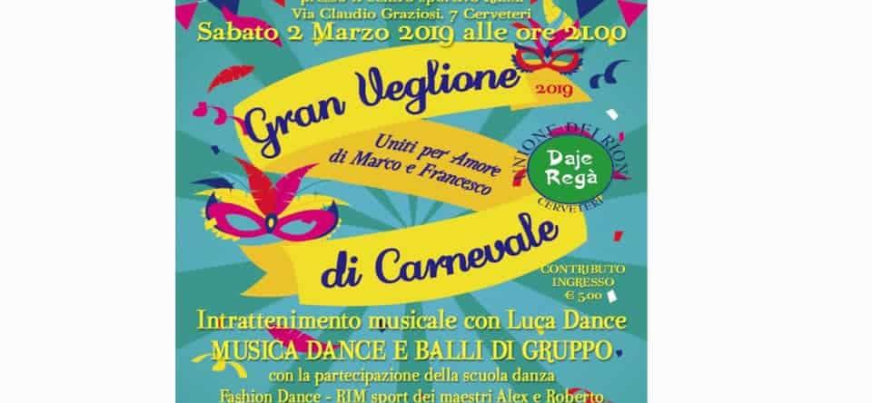 A Cerveteri Gran Veglione di Carnevale per Marco e Francesco