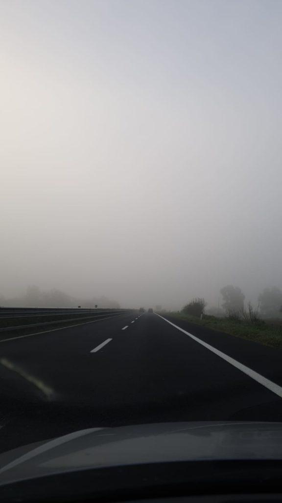 Nebbia sulla A 12 tra Cerveteri e Fiumicino