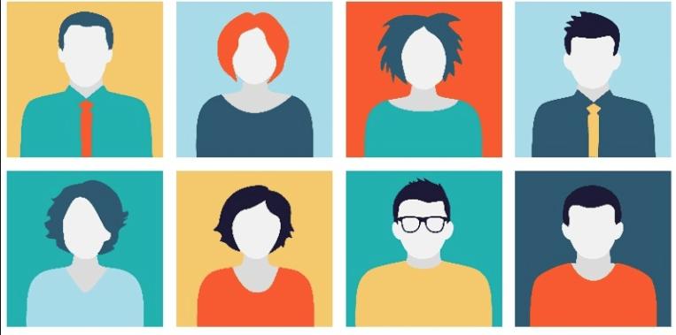 buyer personas. immagine con sei quadrati rappresentati persone senza volto