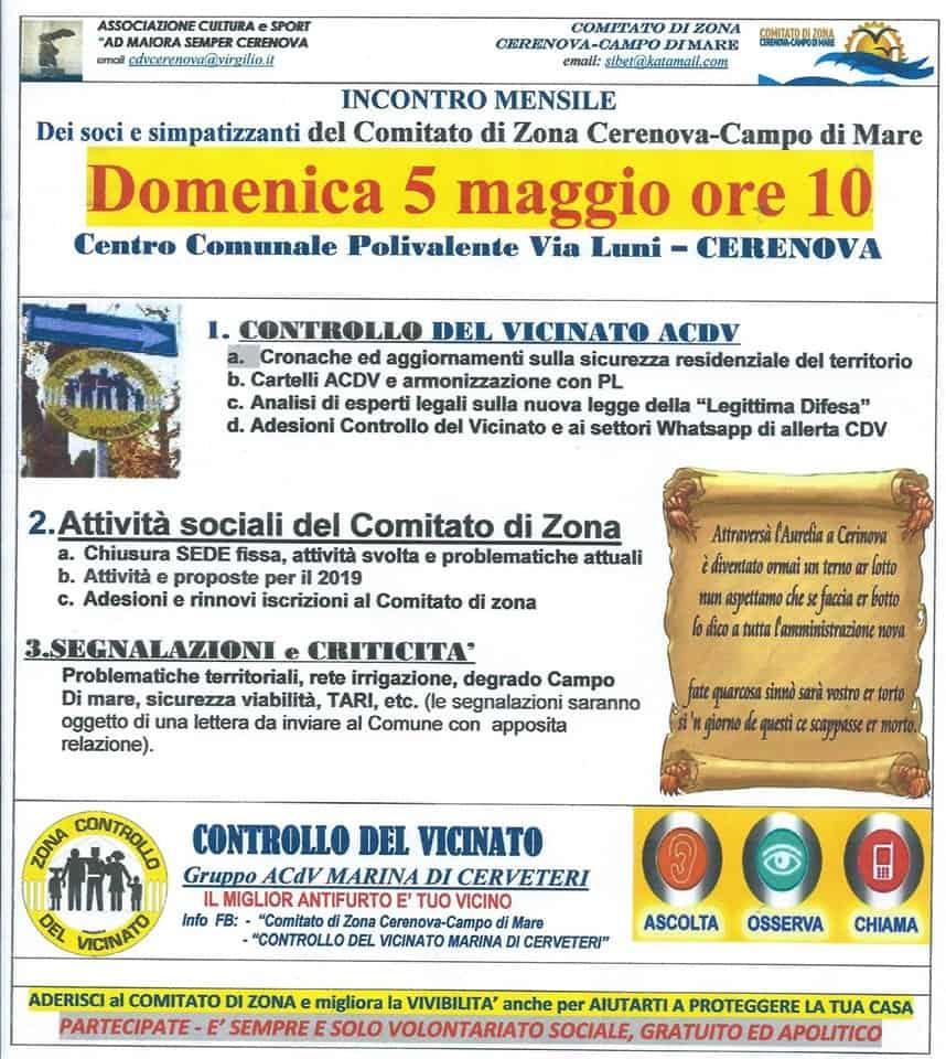 Marina di Cerveteri, domenica l'incontro mensile del Comitato di Zona