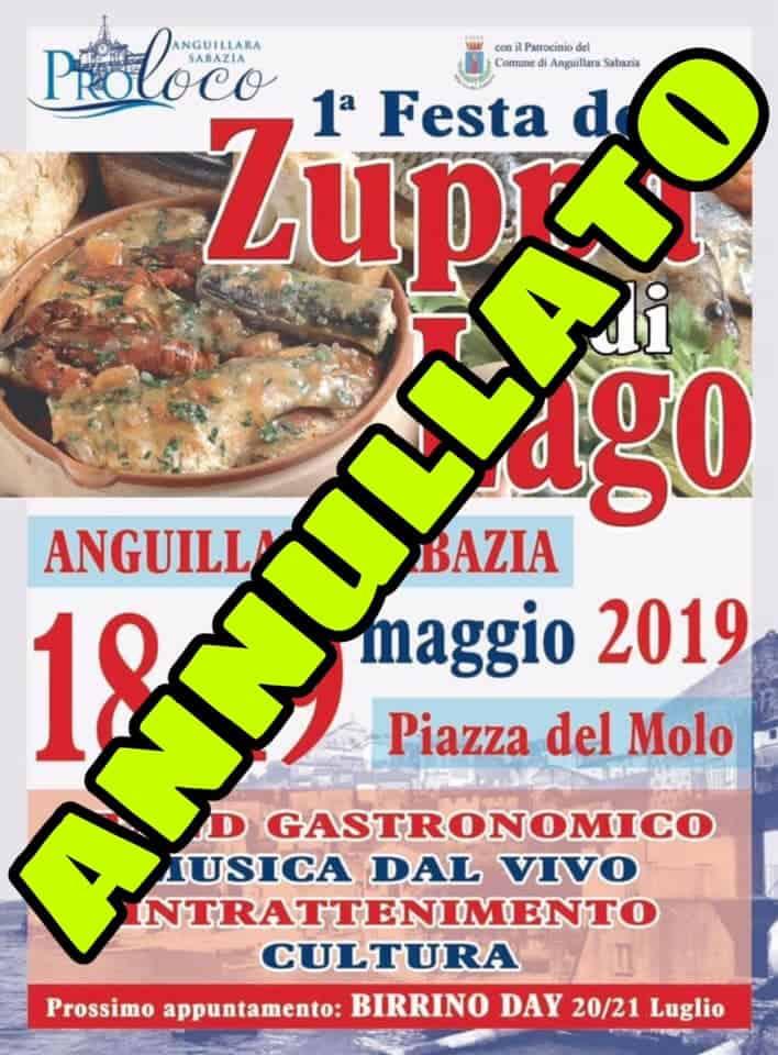 Anguillara, Festa della zuppa annullata causa maltempo