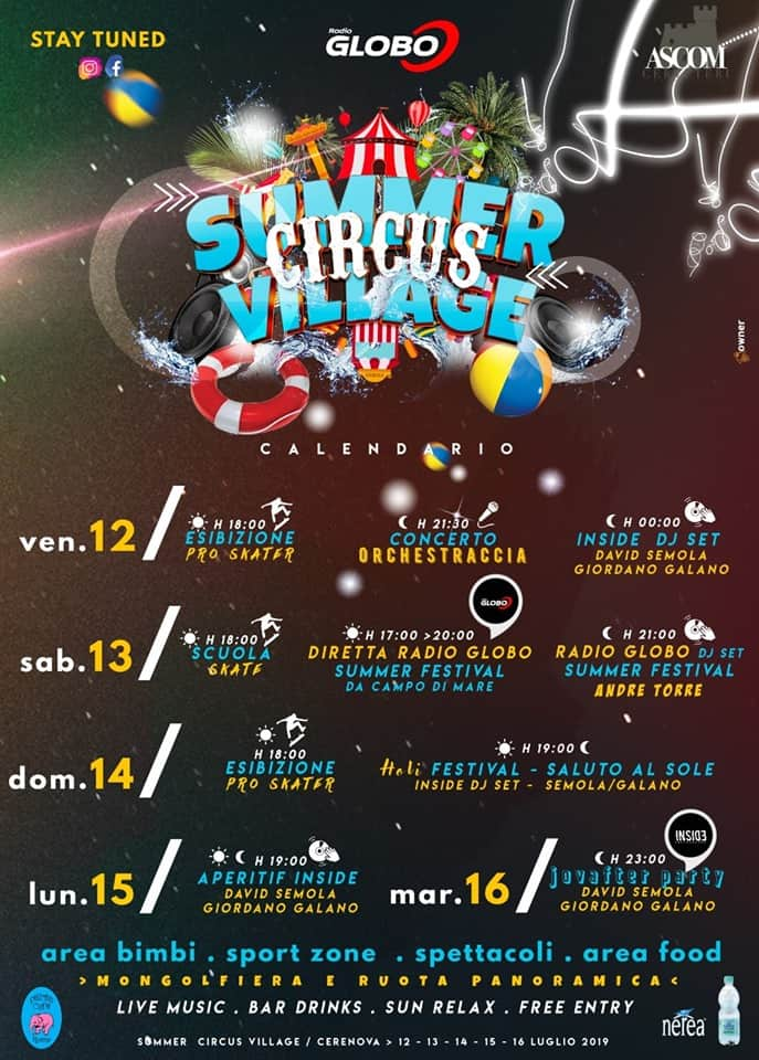 Cerveteri, il programma definitivo del 'Summer Village' targato ASCOM