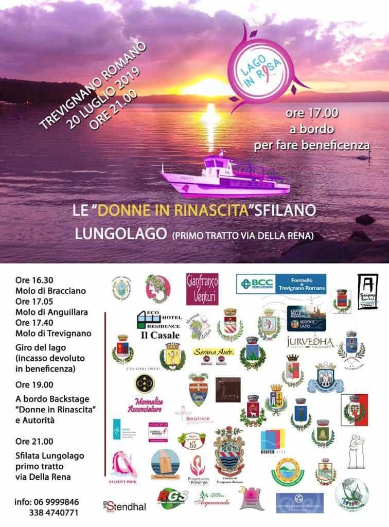"""Lago in Rosa, le """"Donne in rinascita"""" sfilano sul lungolago di Trevignano Romano"""