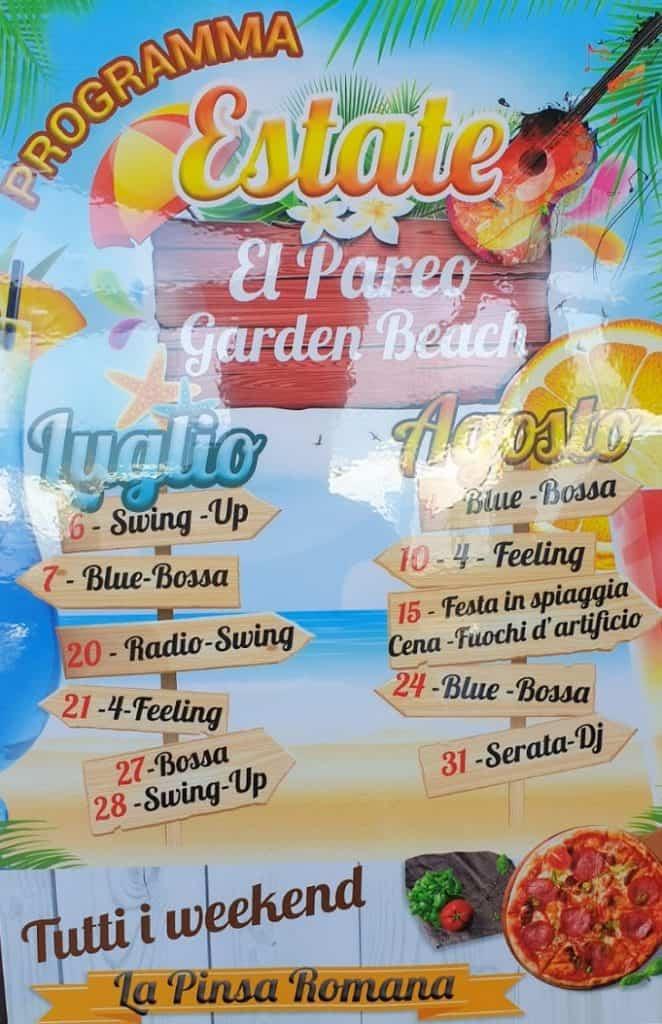Locandina eventi El Pareo Beach Marina di San Nicola