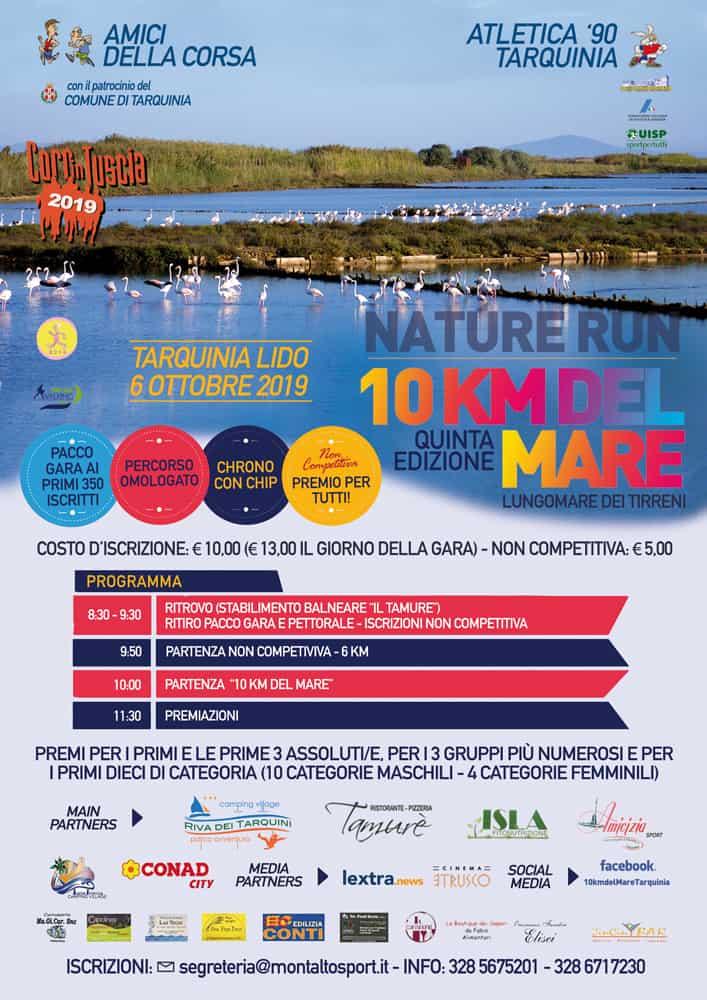 Il 6 ottobre a Tarquinia Lido la quinta edizione della 10km del Mare - Nature Run