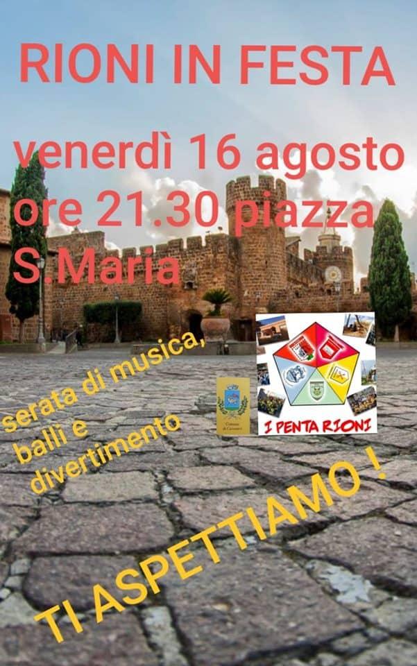 Cerveteri, stasera in Piazza Santa Maria la grande festa dei Rioni