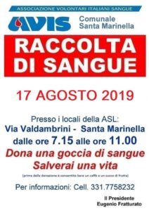 Avis Santa Marinella: ''SOS sangue. La raccolta sabato 17 agosto''