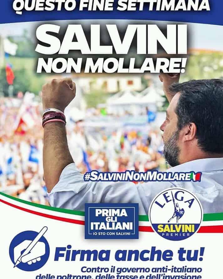 La Lega in Piazza Rossellini per dire No al Conte bis