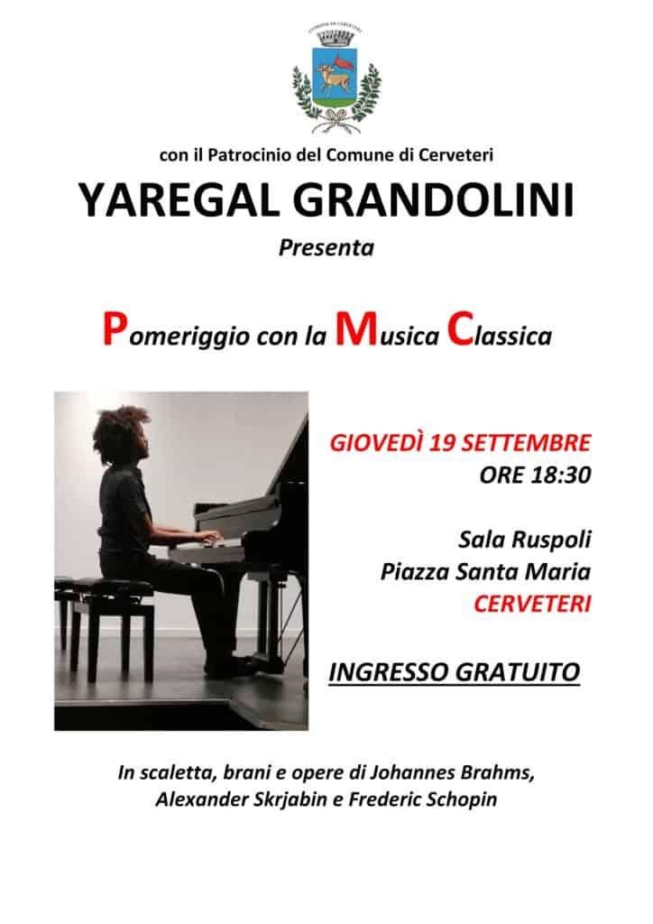 Cerveteri, musica classica: il giovanissimo Yaregal Grandolini in concerto