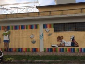 Ladispoli, prende forma il murales a cielo aperto alla biblioteca comunale