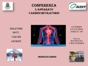 Cerveteri, a Sala Ruspoli la conferenza Auser 'L'apparato cardiocircolatorio'