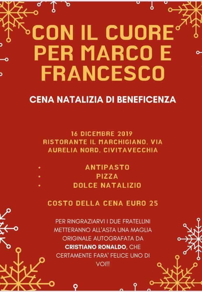 Una cena di beneficenza per Marco e Francesco