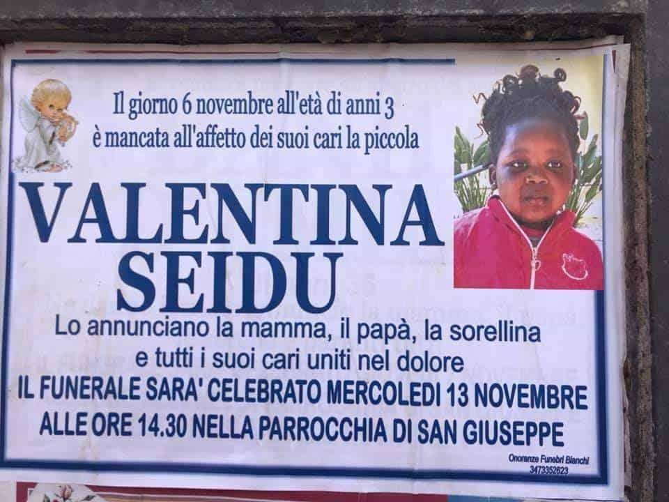 Santa Marinella, oggi l'ultimo saluto alla piccola Valentina