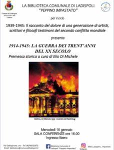 Ladispoli, conferenza '1914-1945: La guerra dei trent'anni del xx secolo' a cura di Elio Di Michele