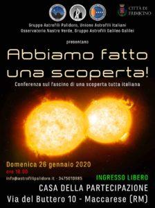 Maccarese, al via la conferenza relativa alla scoperta del Gruppo Astrofili Palidoro