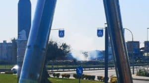 Ladispoli, incendio di sterpaglie nei pressi della Posta