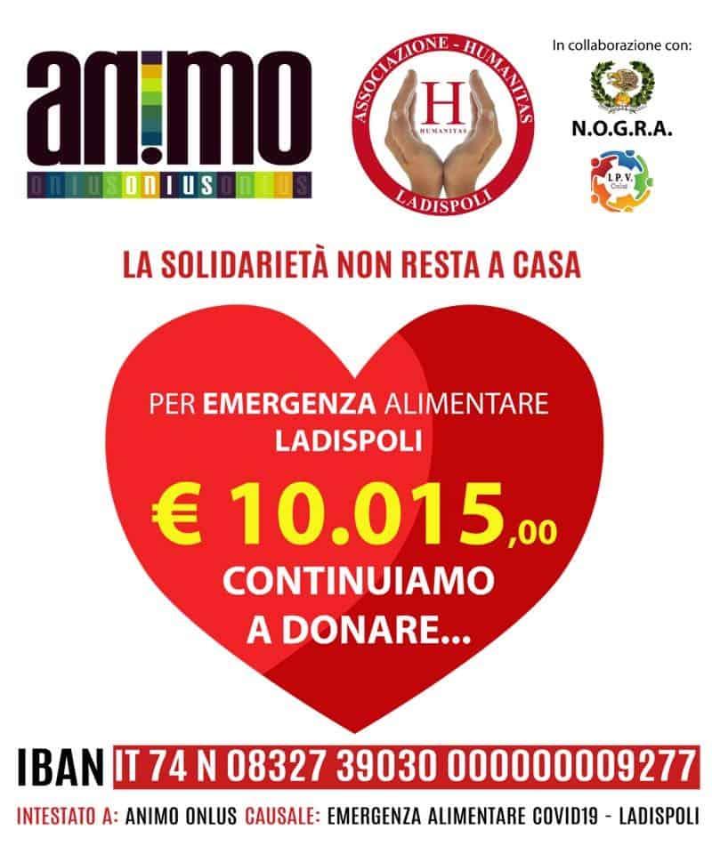 Covid-19 Ladispoli, Animo raccoglie 10mila euro