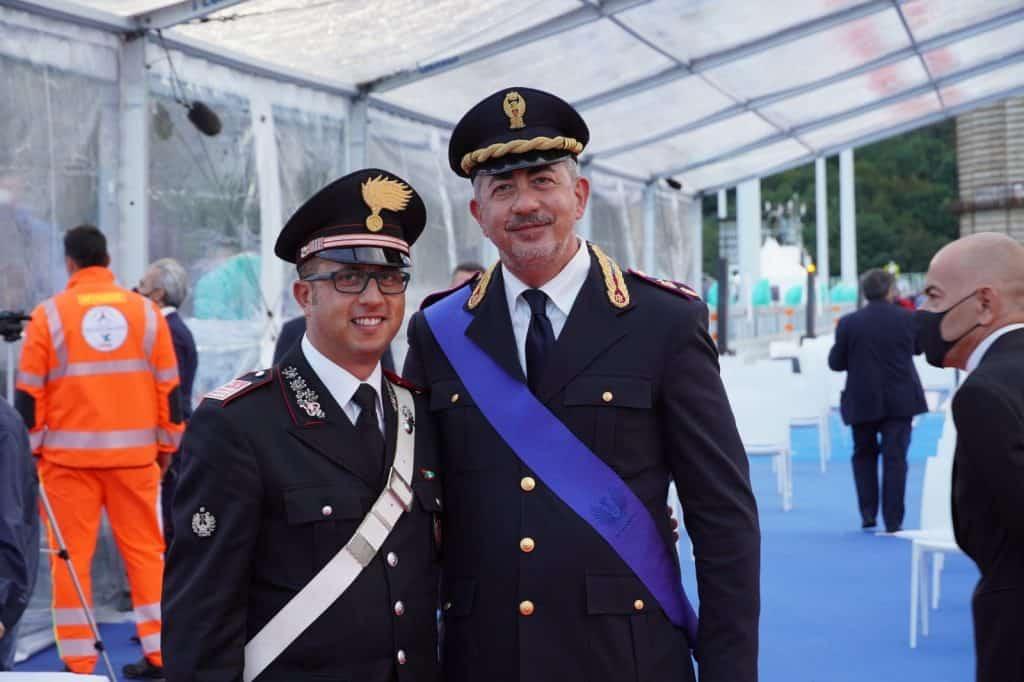 Cerveteri, il Luogotenente Carica Speciale Alessandro Cicchirillo nella Banda Musicale dei Carabinieri all'inaugurazione del nuovo Ponte di Genova