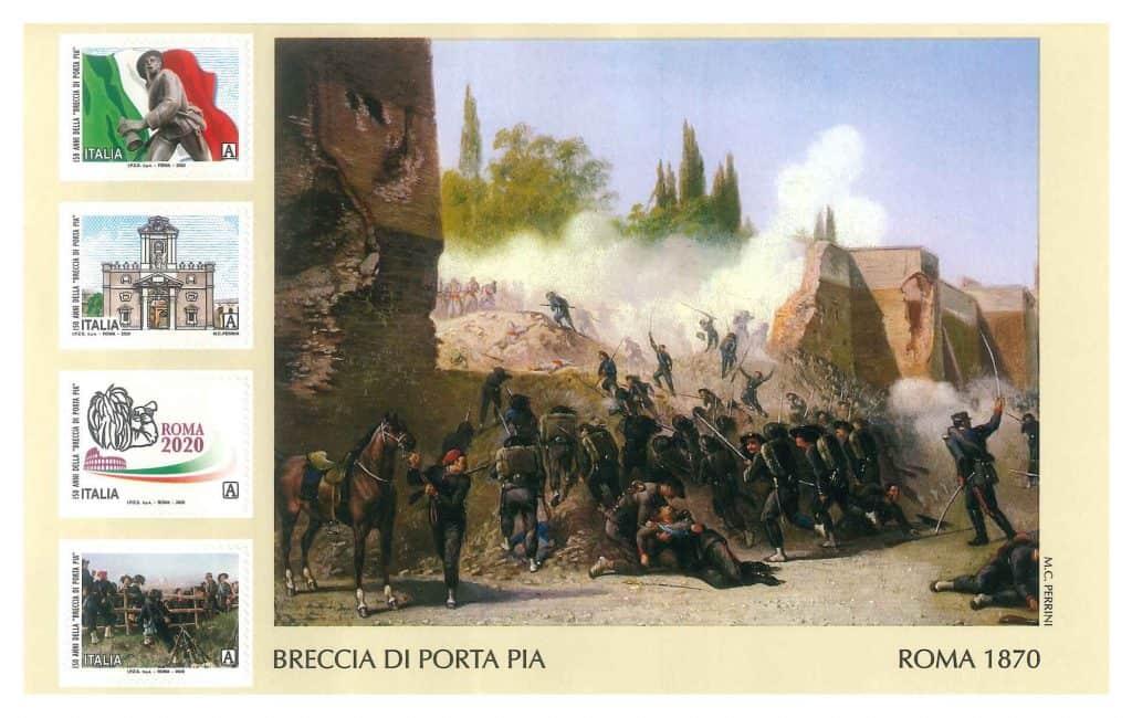 Poste Italiane, arrivano 4 francobolli celebrativi della Breccia di Porta Pia