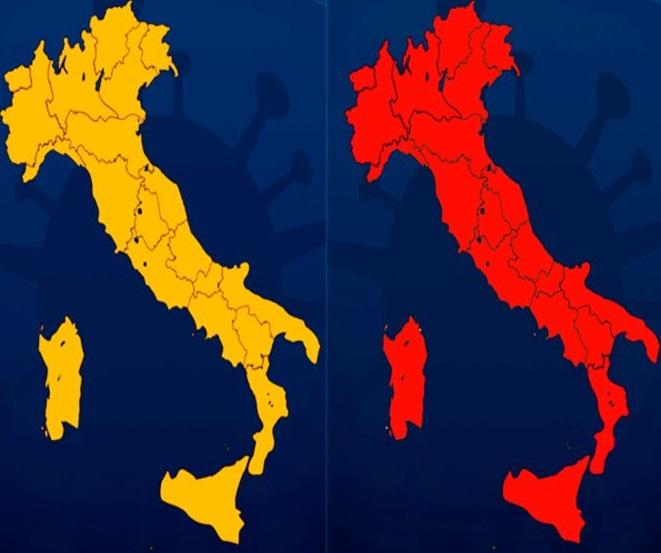 Coronavirus: da domani Italia divisa tra zona rossa e arancione